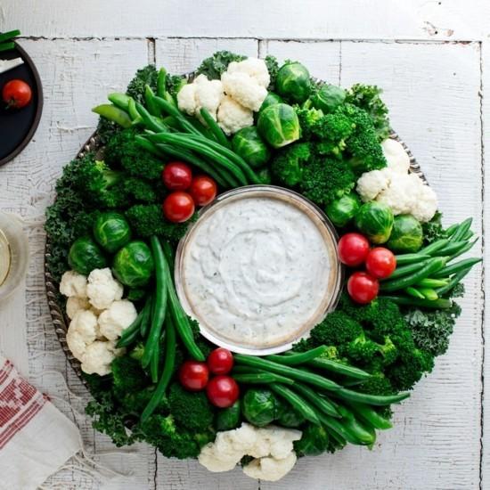 essbaren weihnachtskranz selber machen mit gemüse