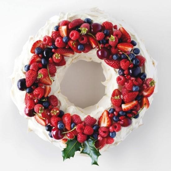 früchte sahne weihnachtskranz selber machen