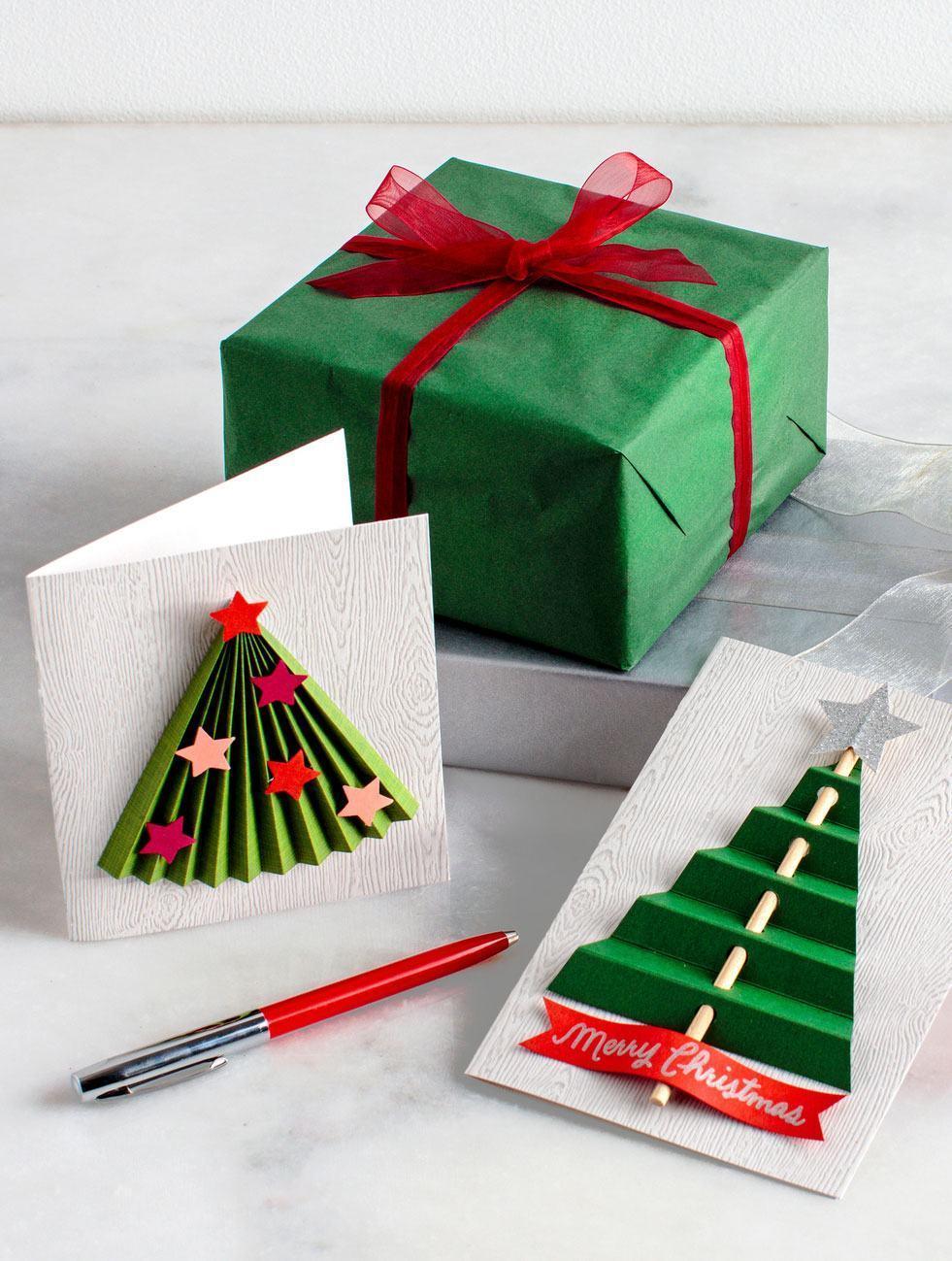 geschenk mit weihnachtskarte schmuck basteln