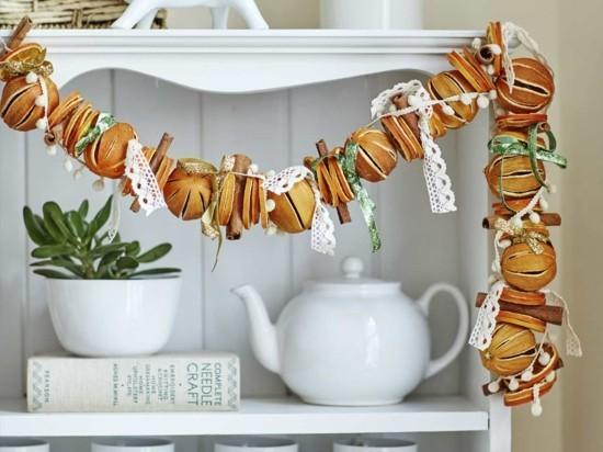 girlande basteln aus getrockneten orangen weihnachten