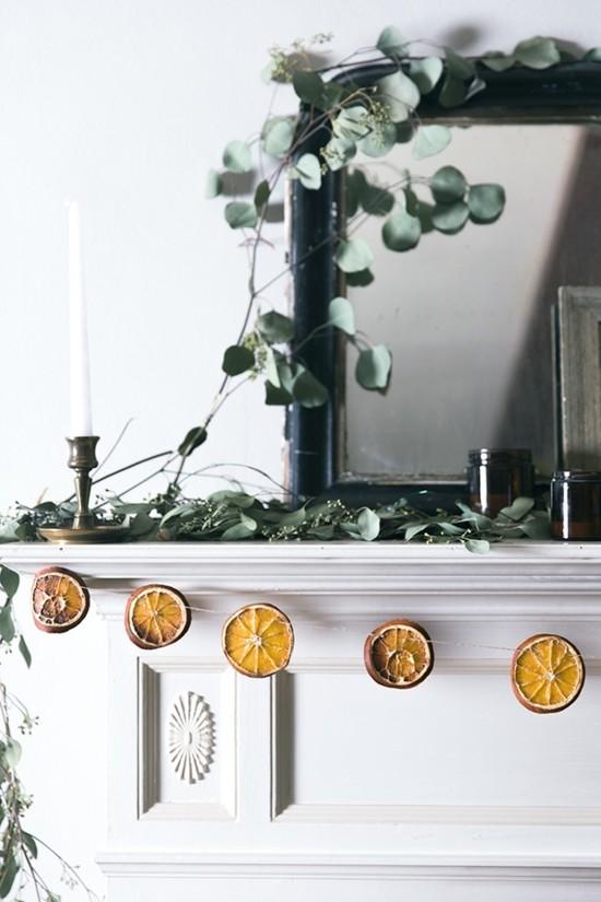 girlande basteln mit getrockneten orangenscheiben
