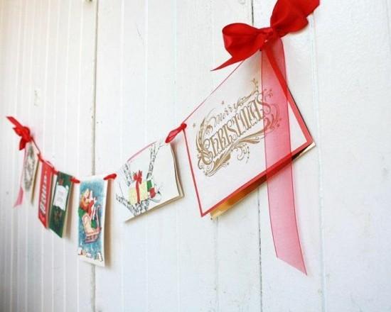 girlande basteln mit weihnachtskarten