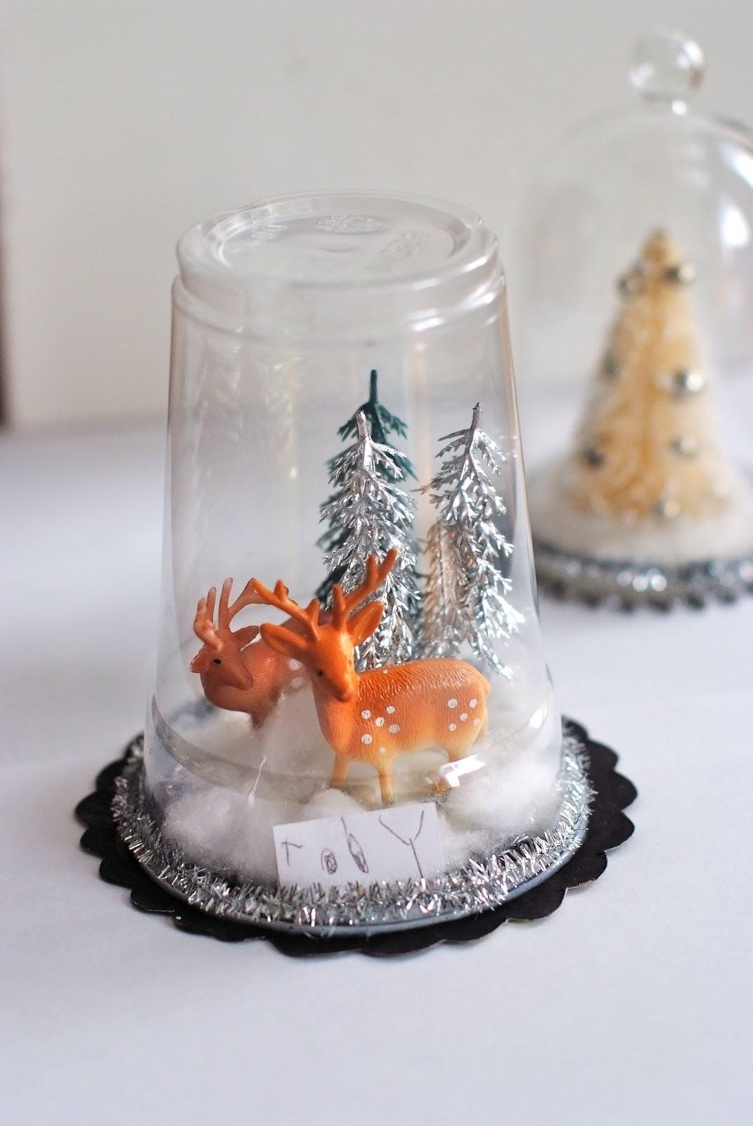 glas mit schnee schmuck basteln