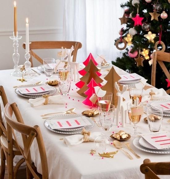gold rot skandinavische weihnachtsdeko tischdeko