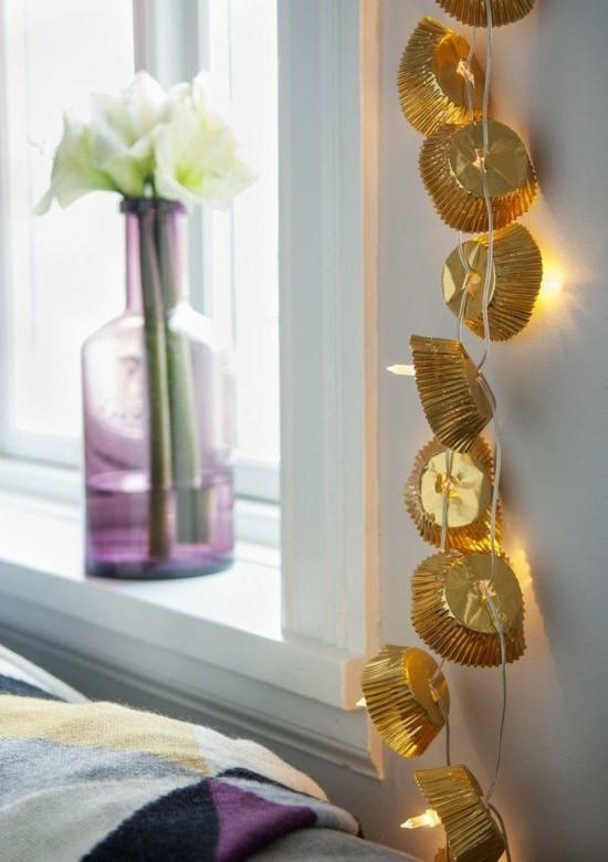goldene muffin papierförmchen girlande basteln