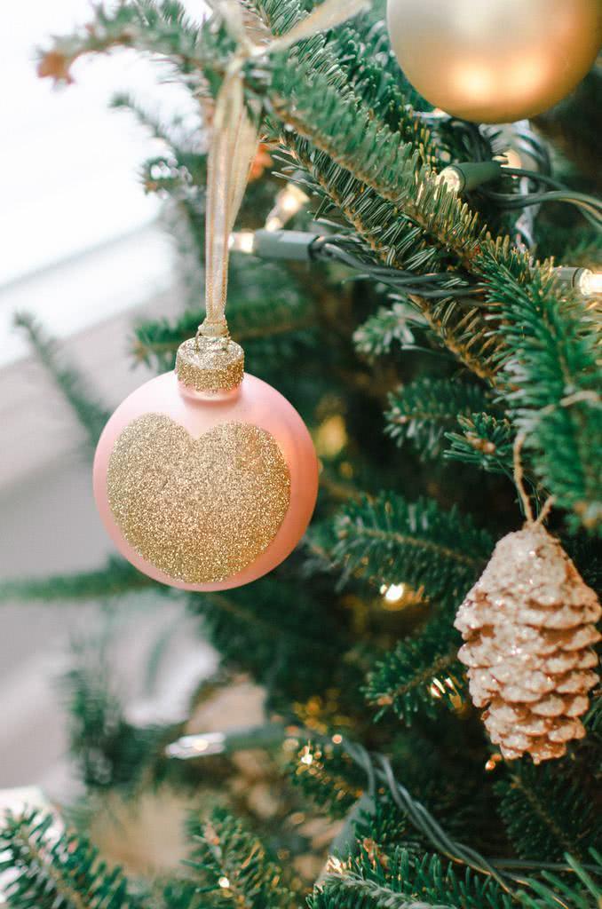 goldene weihnachtskugeln schmuck basteln