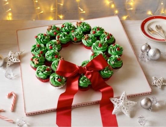 grüne cupcakes weihnachtskranz selber machen