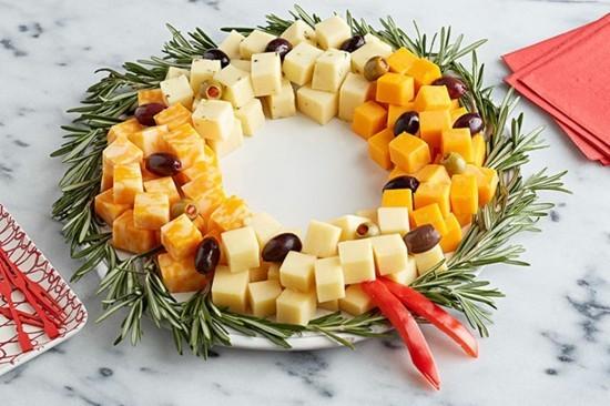 käseplatte weihnachtskranz selber machen