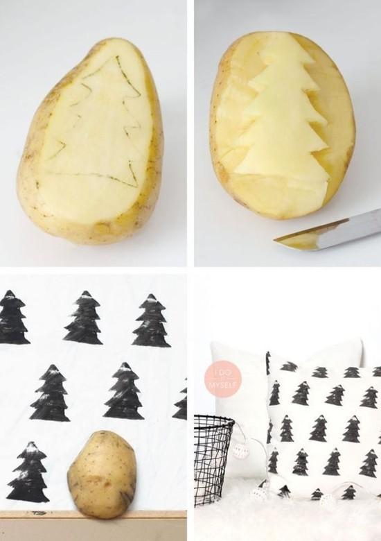 kartoffel stempel skandinavische weihnachtsdeko