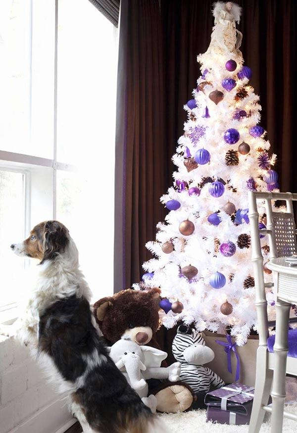 lila und gold christbaumschmuck