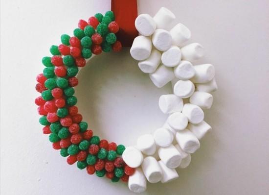 marshmallows fruchtgummis weihnachtskranz selber machen
