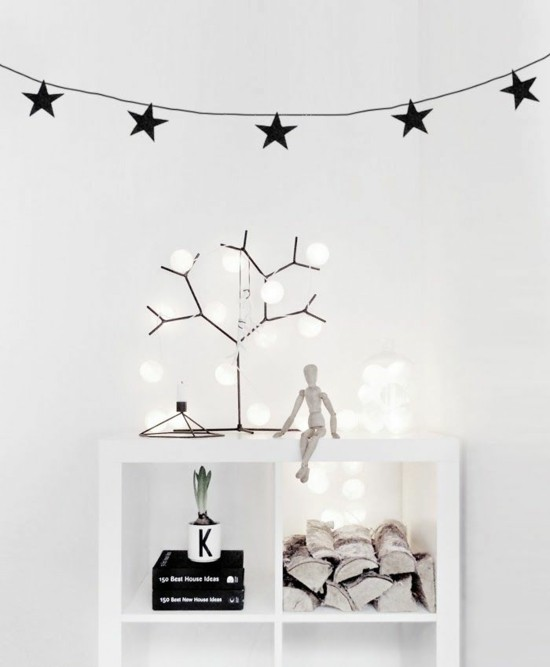 minimalistische girlande basteln schwarze sterne