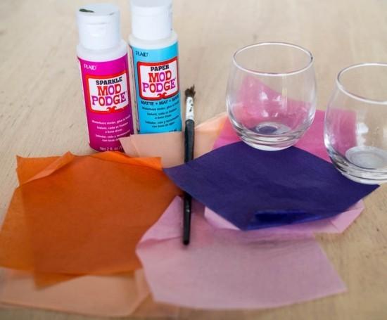 mod podge serviettentechnik windlichter basteln