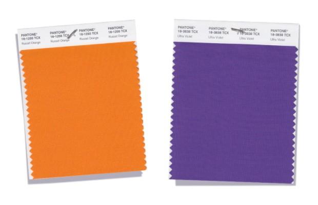 moderne violett und orange trendfarben damenmode pantone