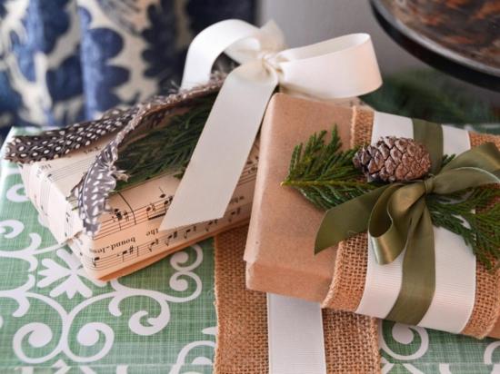 notenpapier verpackungen skandinavische weihnachtsdeko