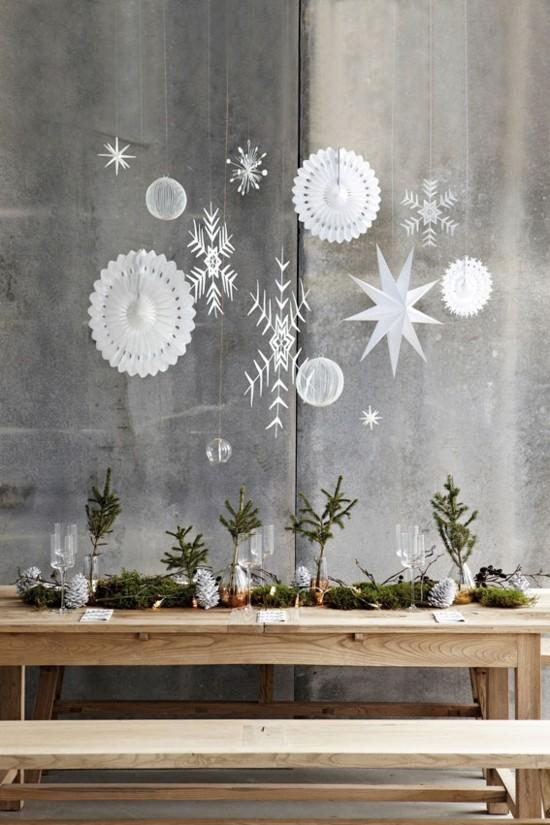 papiersterne tannengrün tischdeko skandinavische weihnachtsdeko