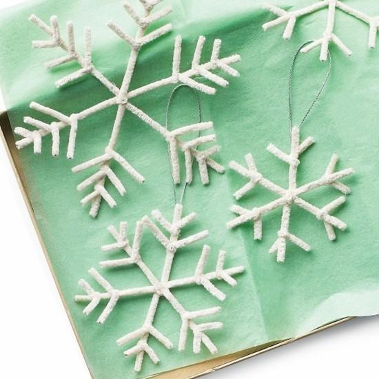 pfeifenputzer schneeflocken basteln