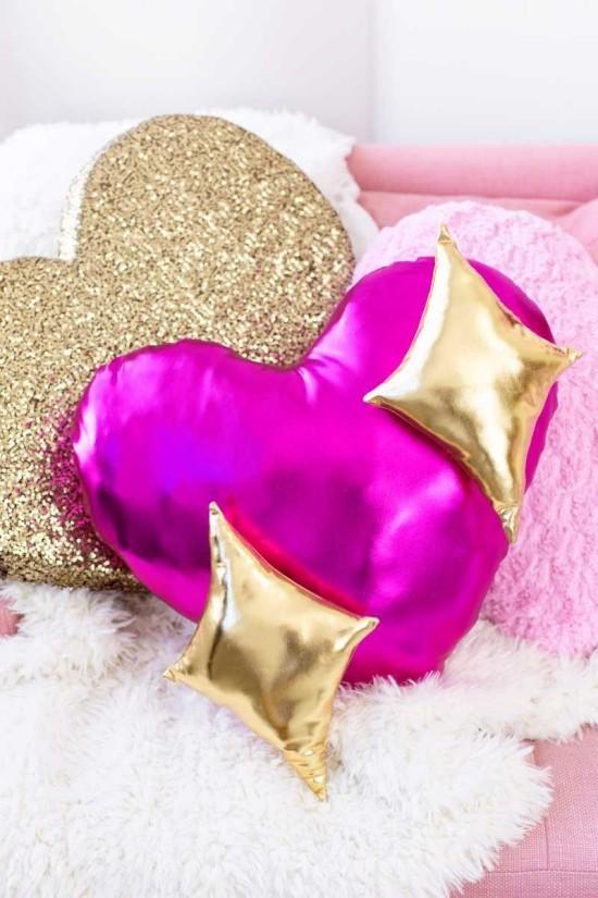 rosa und gold idee dekokissen