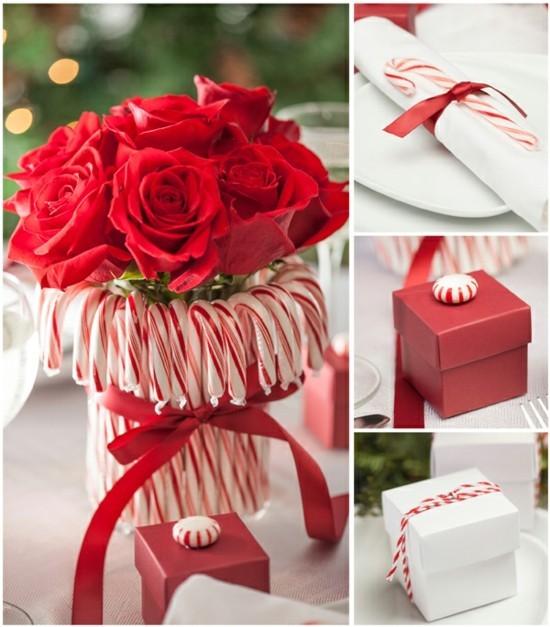 rosen geschenkidee weihnachten zuckerstangen deko