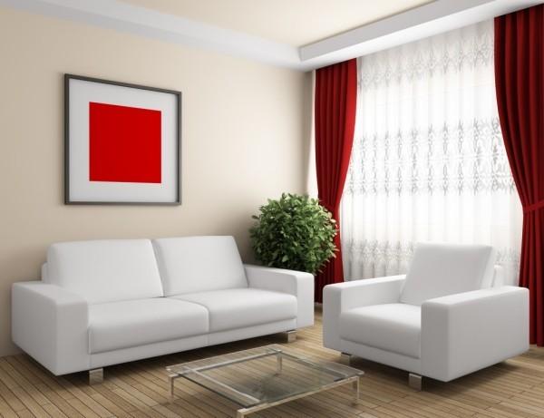 rote gardinen und ein bild deko ideen