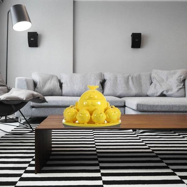 schale mit gelben akzenten deko ideen