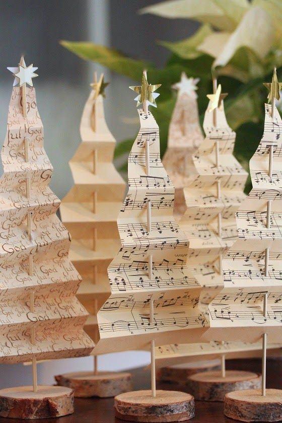schmuck basteln notenpapier bäume