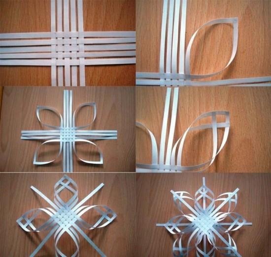 schneeflocken basteln aus papierstreifen