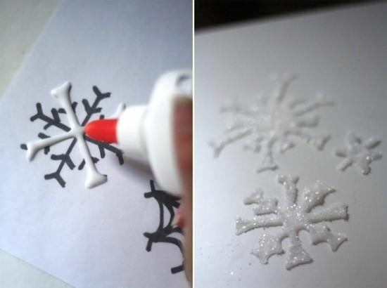 schneeflocken basteln mit silikonkleber