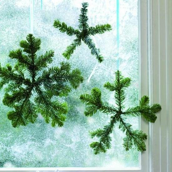 schneeflocken basteln mit tannengrün