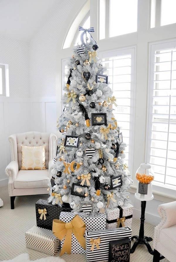 schwar weiß und gold christbaumschmuck