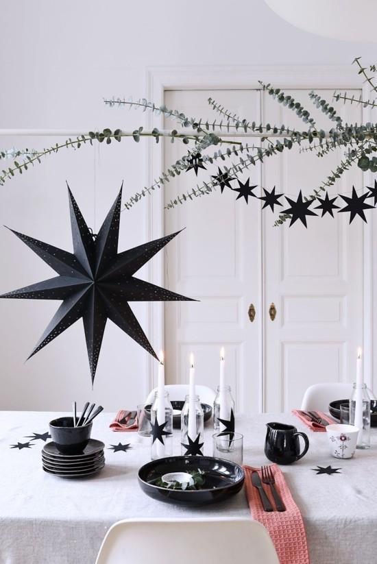 schwarze sterne skandinavische weihnachtsdeko tischdeko