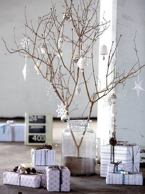 skandinavische weihnachtsdeko baumzweige christbaumschmuck papier