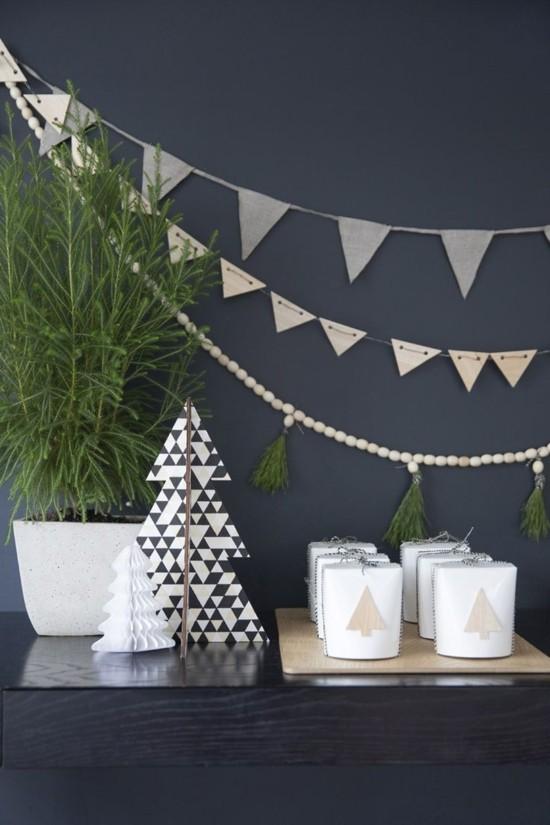 skandinavische weihnachtsdeko girlanden tannenbaum