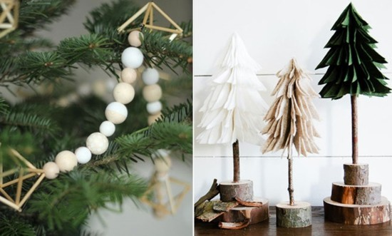 skandinavische weihnachtsdeko holzketten tannenbäume