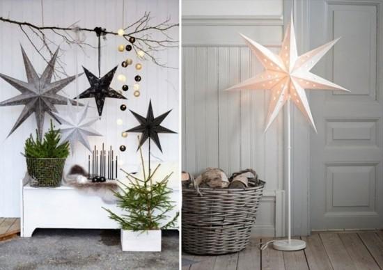 skandinavische weihnachtsdeko papier weihnachtssterne