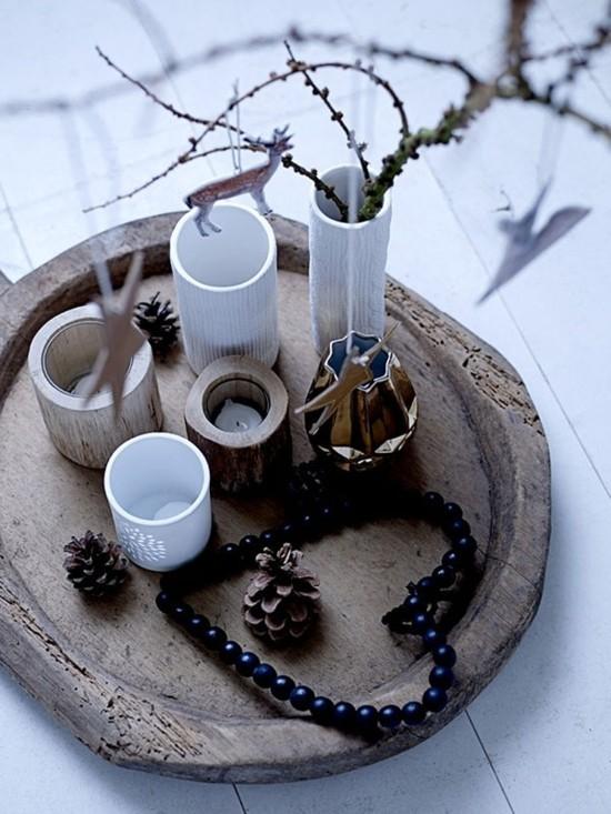 skandinavische weihnachtsdeko tisch dekorieren