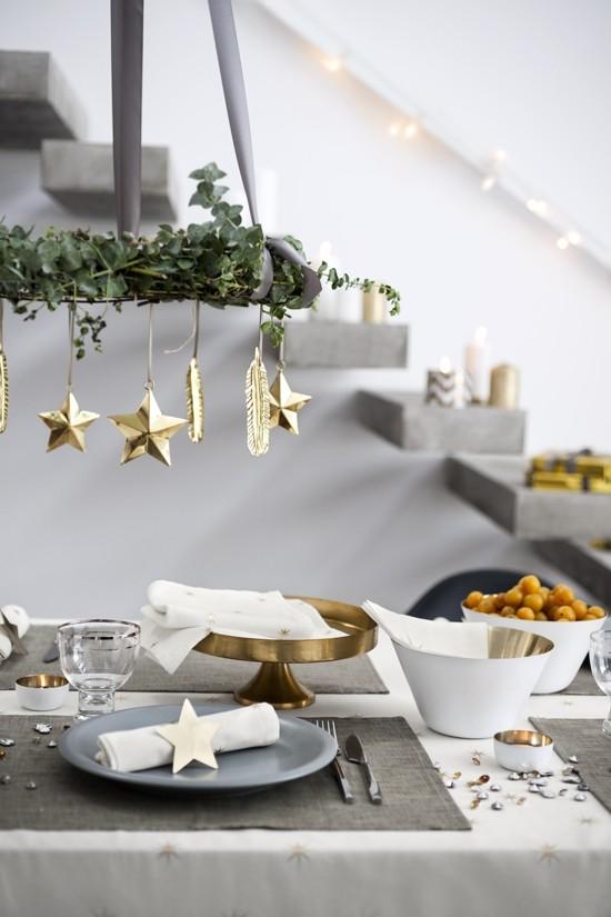 skandinavische weihnachtsdeko tischdeko gold