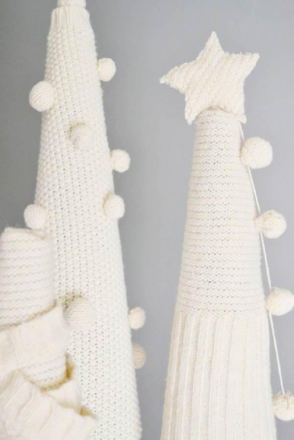 tannenbaum basteln gestrickt in weiß