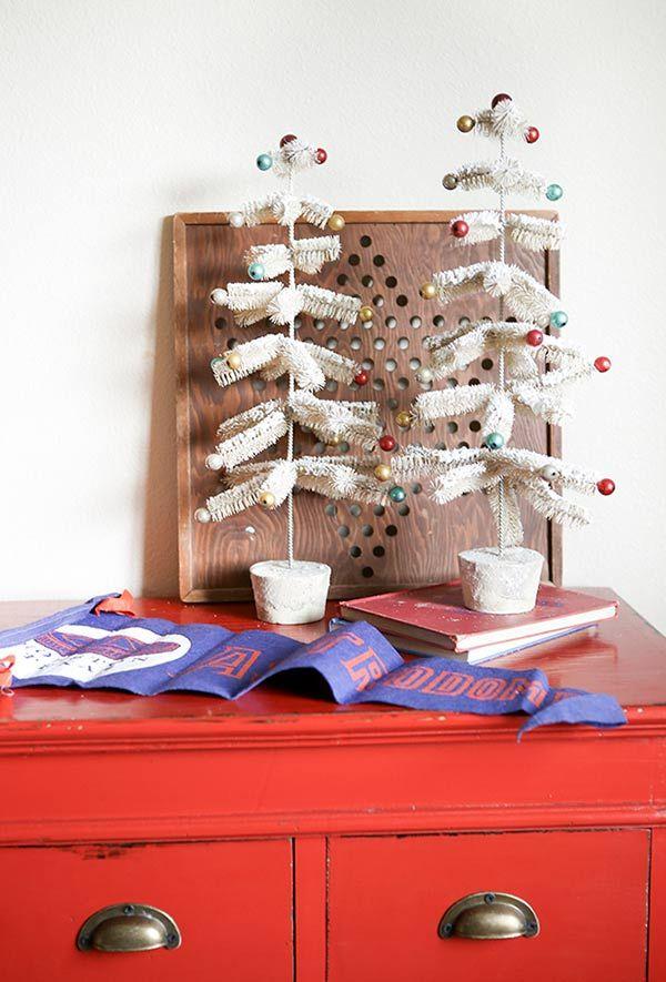 tannenbaum basteln in zwei blumentöpfen