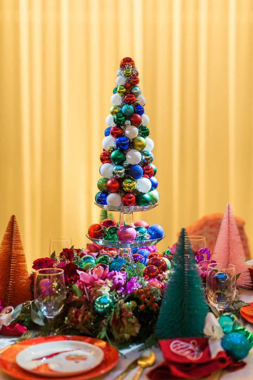 tannenbaum basteln papier weihnachtskugeln