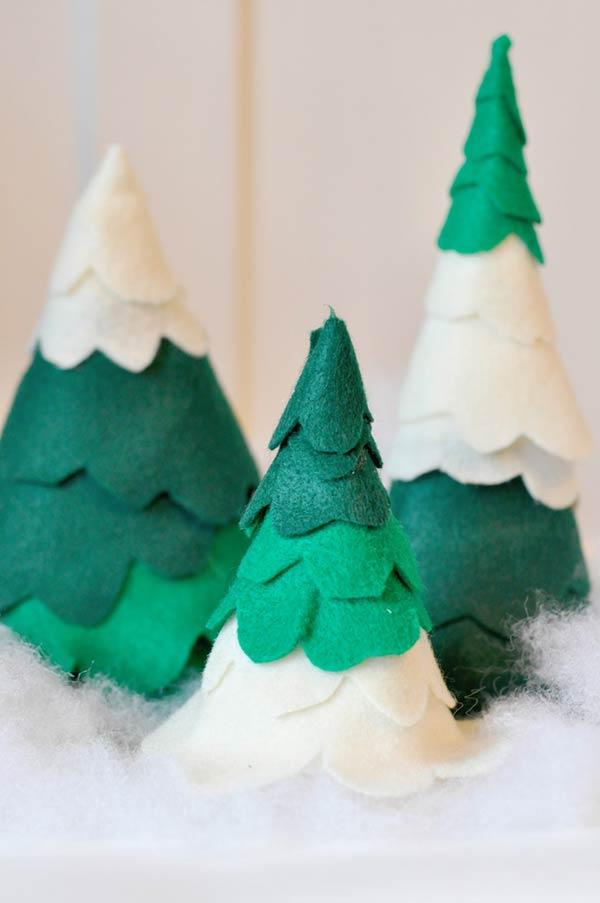 tannenbaum basteln stoff grün weiß