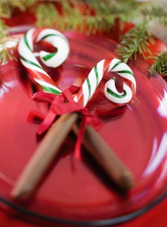 tischdeko weihnachten zuckerstangen deko