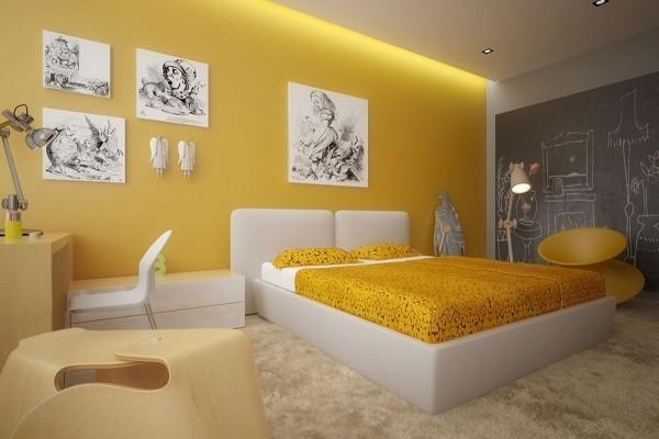 tolle gestaltung in weiß und gelb deko ideen