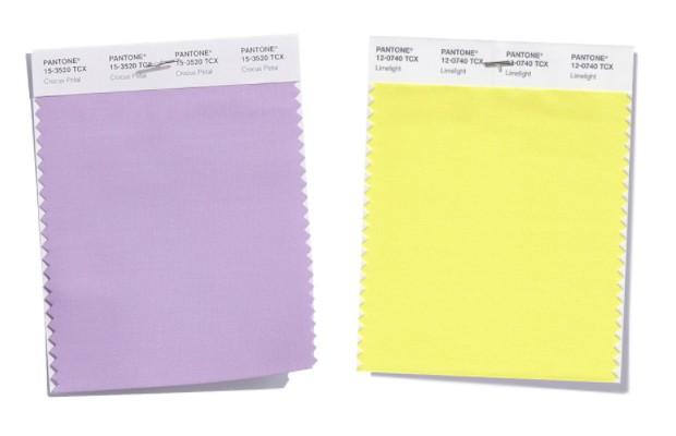 tolles hellviolett und gelb trendfarben damenmode pantone