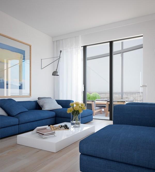 trendfarben blau weiß wohnzimmer