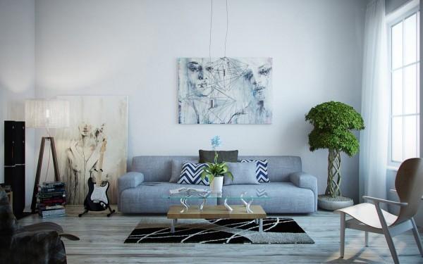 trendfarben grau und grün wohnzimmergestaltung