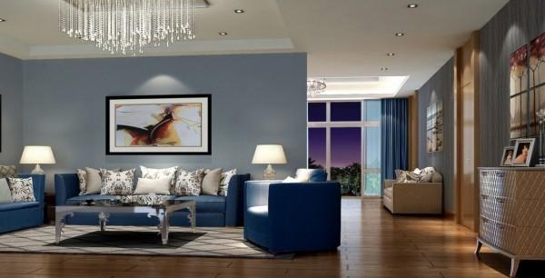 trendfarben wohnzimmergestaltung blaue möbel