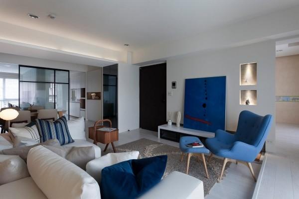 trendfarben wohnzimmergestaltung verschiedene blaus