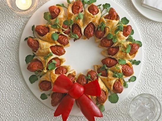 würstchen teig weihnachtskranz selber machen