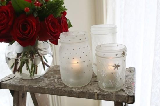 weihnachtsdeko windlichter basteln gläser bemalen